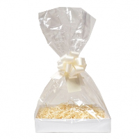 Complete Gift Basket Kit - (Large) WHITE EASY FOLD TRAY / CREAM ACCESSORIES