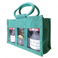 3 JAR JUTE BAG with Window, Partition and Cotton Corded Handles - 24x10x14cm high - DARK GREEN