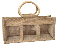 3 JAR JUTE BAG with Window, Partition and Cotton Corded Handles - 24x10x14cm high - NATURAL