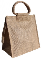 LARGE JUTE BAG with ZIP and Cotton Corded Handles - 26x15x26cm high - NATURAL
