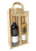 DOUBLE WINE BOTTLE JUTE BAG with Window, Partition and Cotton Corded Handles - NATURAL
