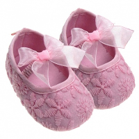 Embroidered Baby Shoes - (9-12 months) LIGHT PINK