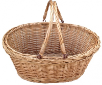 PLAITED TOP Wicker SHOPPER with Folding Handles - NATURAL 46cm