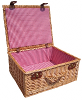 """Premium NATURAL Hamper with RED GINGHAM LINING (18"""") 45x38x20cm - LARGE"""