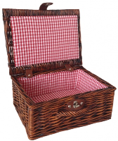 """Premium VINTAGE BROWN Hamper with RED GINGHAM LINING (12"""") 30x23x13cm - SMALL"""