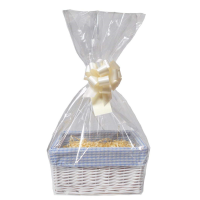 WHITE Wicker Storage Basket with BLUE GINGHAM Lining & Cream Gift Accessory Kit - 30x22x15cm