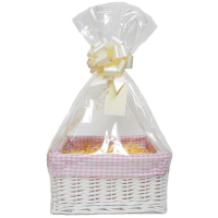 WHITE Wicker Storage Basket with PINK GINGHAM Lining & Cream Gift Accessory Kit- 30x22x15cm