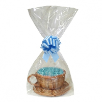 Gift Basket Kit - WICKER CUP & SAUCER / BLUE ACCESSORIES