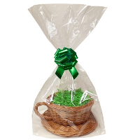 Gift Basket Kit - WICKER CUP & SAUCER / GREEN ACCESSORIES