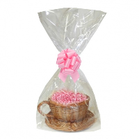 Gift Basket Kit - WICKER CUP & SAUCER / PINK ACCESSORIES