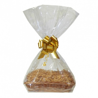 Complete Gift Basket Kit - (32x21x7cm) STEAMED WICKER TRAY / GOLD ACCESSORIES