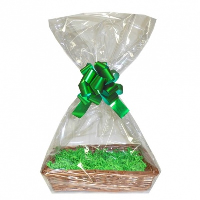 Complete Gift Basket Kit - (32x21x7cm) STEAMED WICKER TRAY / GREEN ACCESSORIES