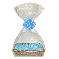 Complete Gift Basket Kit - (36x23x8cm) STEAMED WICKER TRAY / BLUE ACCESSORIES
