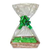 Complete Gift Basket Kit - (36x23x8cm) STEAMED WICKER TRAY / GREEN ACCESSORIES