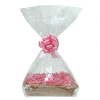 Complete Gift Basket Kit - (36x23x8cm) STEAMED WICKER TRAY / PINK ACCESSORIES