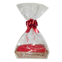 Complete Gift Basket Kit - (47x36x9cm) STEAMED WICKER TRAY / RED ACCESSORIES