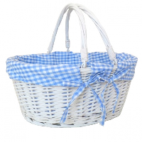 Large Premium SHOPPER with Folding Handles in WHITEWASH Paint and *NEW* BLUE GINGHAM Cotton Lining- 41cm