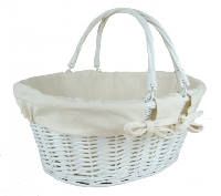 Large Premium SHOPPER with Folding Handles in WHITEWASH Paint and CREAM Cotton Lining- 41cm