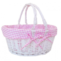 Large Premium SHOPPER with Folding Handles in WHITEWASH Paint and *NEW* PINK GINGHAM Cotton Lining- 41cm