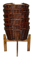 Wicker Shopping Baskets with Folding Handles and Wooden Shopping Display Stand - LARGE VINTAGE BROWN