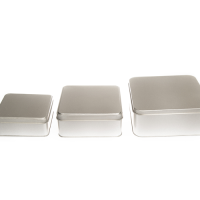 Flat Silver Square Tin with Slip Lid