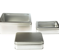 Large Silver Rectangular Tin with Either a Solid or Window Stepped Slip or Hinged Lid