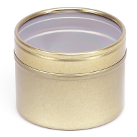 Gold Round Seamless Slip Lid Tins with Window