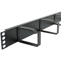 1 U CABLE MANAGEMENT BAR BLACK WITH METAL RINGS