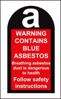 100 S/A labels 27x50mm contains blue asbestos
