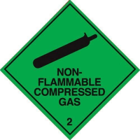 100 S/A labels 100x100mm non-flammable compressed gas 2