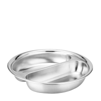 Round Food Pan 2 Division for Chafer Stainless Steel (Each)