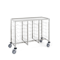Tournus Self-Service Tray Clearing Trolley  3 x 6 Tiers With Upper Shelf Stainless Steel (Each)