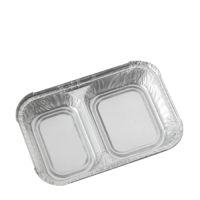 2 Compartment  Foil Container 198x130x30mm Silver (1 x 500)
