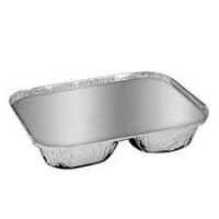 2 Compartment Lid for Foil Container Silver (1 x 500)