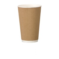 Ribbed  Ripple Kraft Paper Cup 16oz (45cl) Brown (1 x 500)
