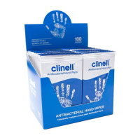 Clinell Antibacterial Hand Wipes (Individually wrapped) 100 sachets per box (1 x 8)