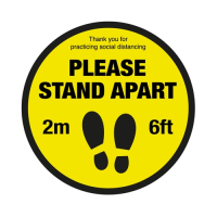 """""""Please Stand 2m Apart"""" Floor Sign 40cm Yellow (Each)"""
