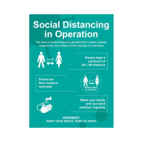 """""""Social Distancing in Operation""""  Foamex  Sign 60 x 80cm Blue (Each)"""
