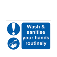 """""""Wash & Sanitise Your Hands Routinely"""" PVC Sign 30 x 20cm Blue/White (Each)"""