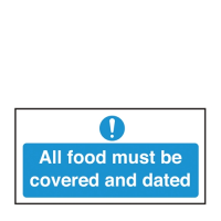 All Food Covered And Dated Self Adhesive Sign 100 x 200 mm Blue (Each)