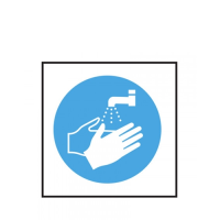 """""""Now Wash Your Hands"""" Self Adhesive Sign 10 x 10cm Blue (Each)"""