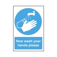 """""""Now Wash Your Hands""""  Self Adhesive Sign 30 x 20cm Blue (Each)"""