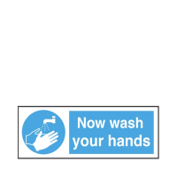 """""""Now Wash Your Hands""""  Self Adhesive Sign 8 x 23cm White/Blue (Each)"""