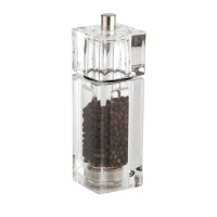 """Acrylic Square/Cube Pepper Mill 6"""" Clear (Each)"""