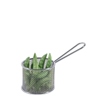 """18/10 Stainless Steel Small Round Basket 3 x 3"""" Silver (Each)"""