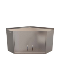 CED Angled Wall Cupboard  2 Hinged  Doors 750mm (W) x 300mm (D) Stainless Steel (Each)