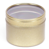 Gold or White Round Seamless Slip Lid Tins with Window