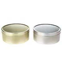 Silver and Gold Round Seamless Travel Sweet Solid Slip Lid Tins
