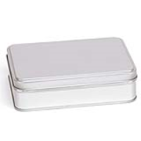 Silver Large Rectangular Step Lid Tin with Either Solid or Clear Lid