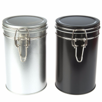 Silver and Black Round Clip Lid Tins
